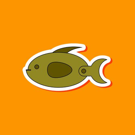 paper sticker on stylish background of Kids toy fish Illustration