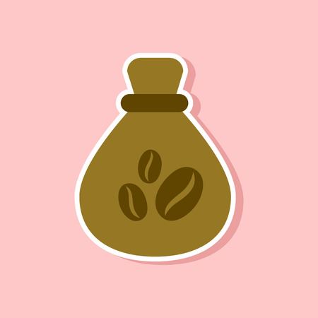 paper sticker on stylish background of bag roasted coffee Illustration