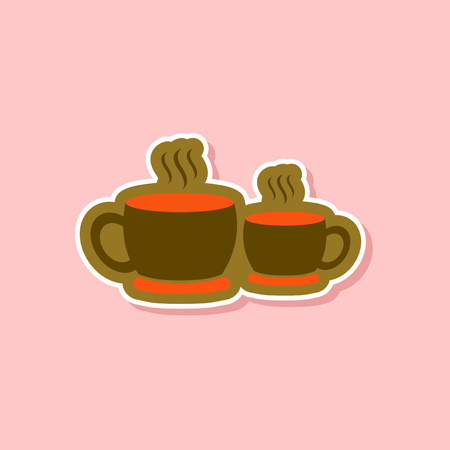 paper sticker on stylish background of cups hot coffee