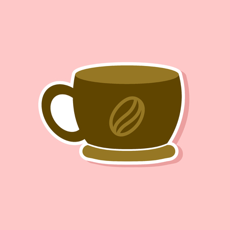 tea hot drink: paper sticker on stylish background of coffee cup flavor Illustration