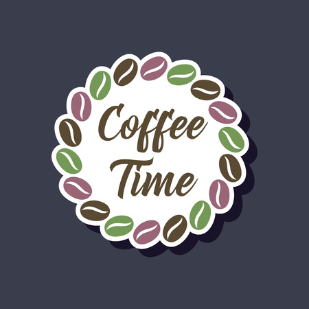 paper sticker on stylish background of bean Coffee time logo
