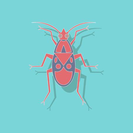 paper sticker on stylish background of soldier bug Illustration