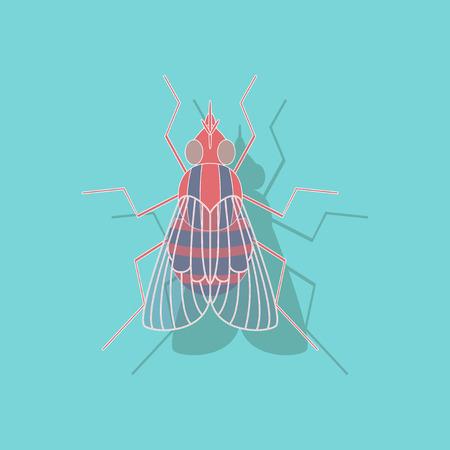 paper sticker on stylish background of fly Иллюстрация