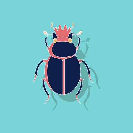 paper sticker on stylish background of scarab Illustration