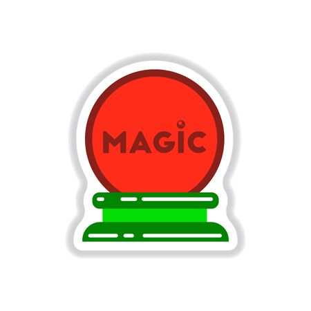 paper sticker on background of magic ball
