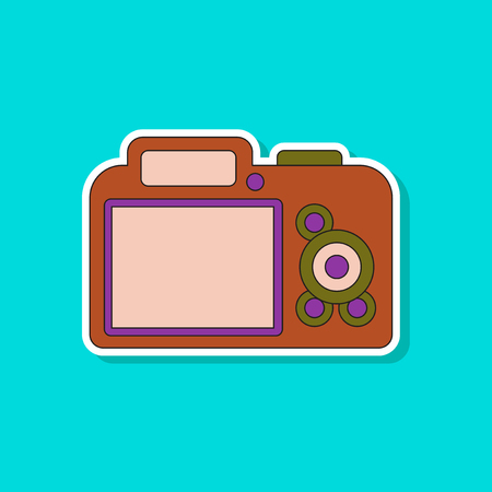 paper sticker on background of camera Illustration