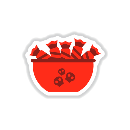 paper sticker on background of halloween candy Illustration