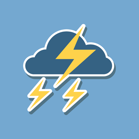 paper sticker on stylish background of lightning cloud