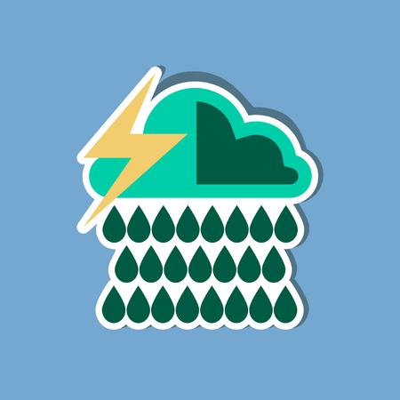 overcast: paper sticker on stylish background of thunderstorm rain cloud