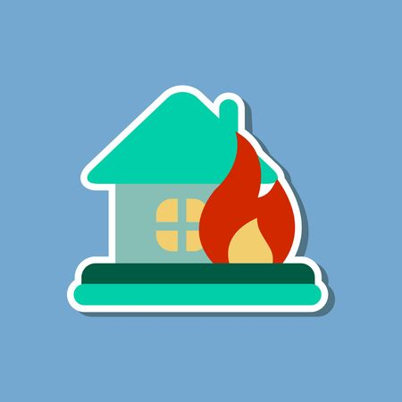 paper sticker on stylish background of nature fire house