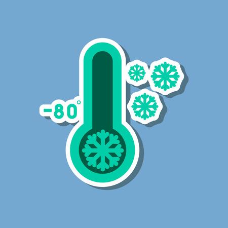 papieren sticker op een stijlvolle achtergrond van thermometer koud weer