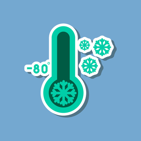 paper sticker on stylish background of thermometer cold weather Illustration