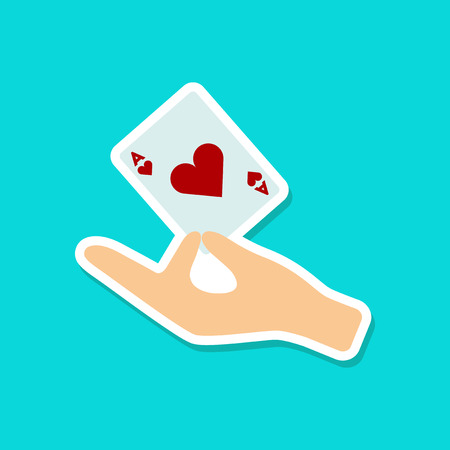 ace of hearts: paper sticker on stylish background hand playing cards Illustration