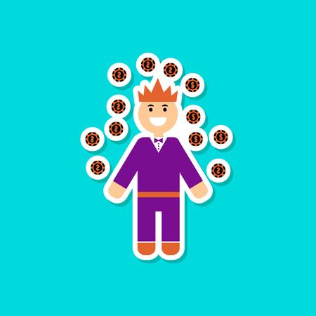 paper sticker on stylish background man player Illustration