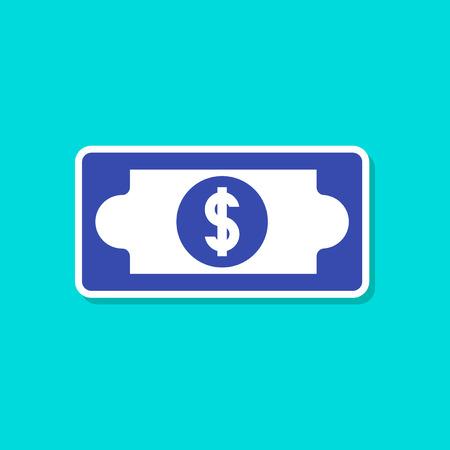 paper sticker on stylish background dollar money Illustration
