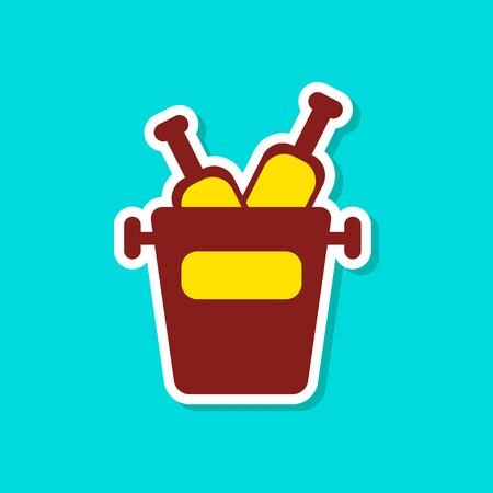paper sticker on stylish background bottle bucket
