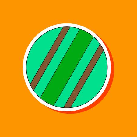 paper sticker on stylish background Kids toy ball Illustration
