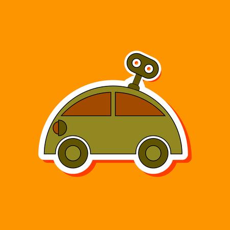 printed machine: paper sticker on stylish background Kids toy car with key