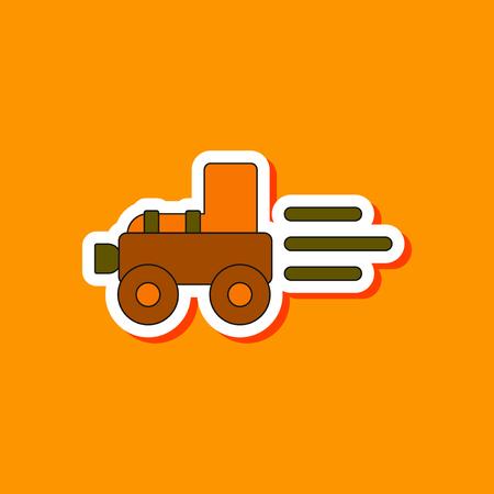 paper sticker on stylish background Kids toy Tractor Illustration