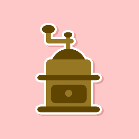 paper sticker on stylish background coffee mill grinder