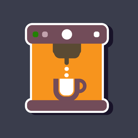 domestic: paper sticker on stylish background coffee electronic machine Illustration