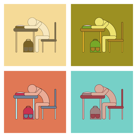 assembly flat icons student sleeping at the desk Stock Vector - 84360740