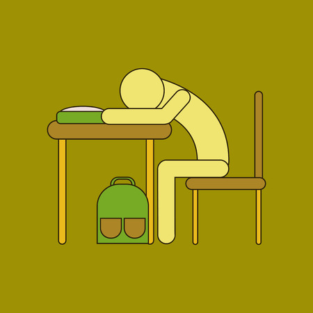flat icon with thin lines student sleeping at desk Stock Vector - 84360843