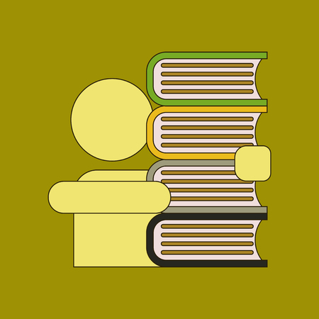 flat icon with thin lines schoolboy book Illustration
