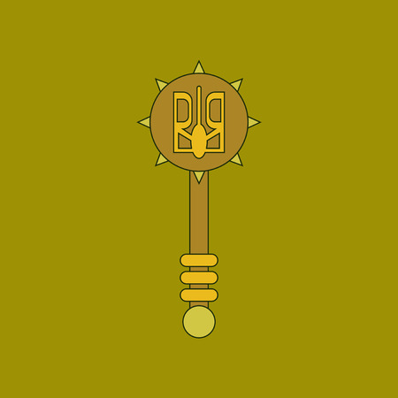 flat icon thin lines Ukrainian mace