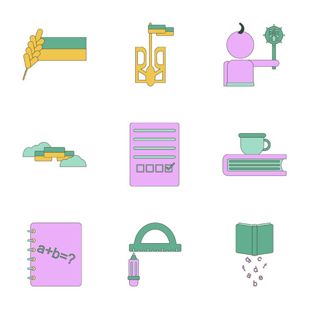 assembly flat icons school lessons