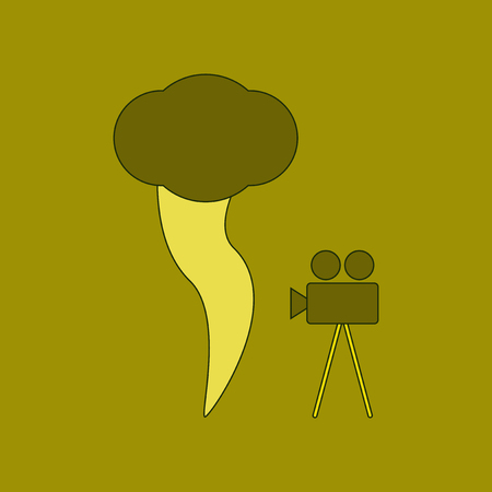 flat icon on background tornado camera Illustration