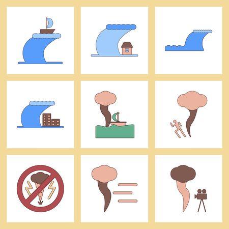 ocean waves: assembly flat icons nature disaster tsunami tornado Illustration