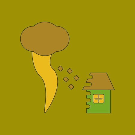flat icon stylish background tornado destruction house