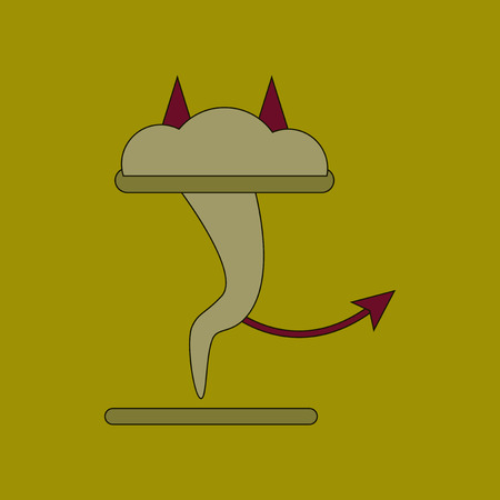 flat icon on background tornado devil