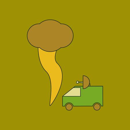 flat icon stylish background tornado car Illustration
