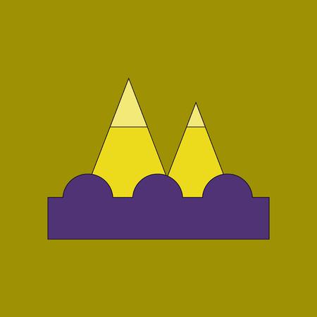 flat icon stylish background tsunami mountains