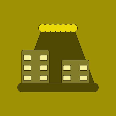 flat icon on background tsunami city