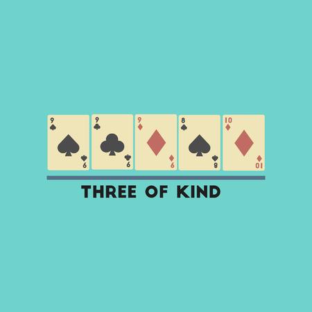 flat icon on stylish background poker three of kind