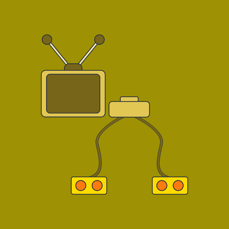 flat icon on background Kids toy TV game console Illustration