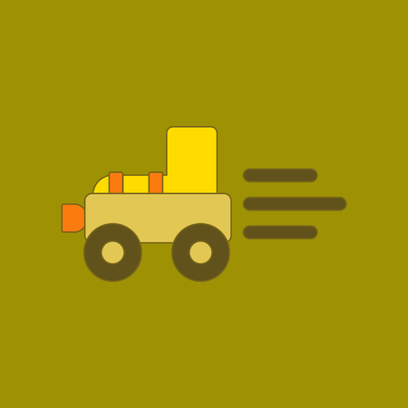 flat icon on background Kids toy Tractor