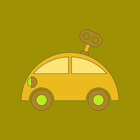 flat icon on background Kids toy car with key