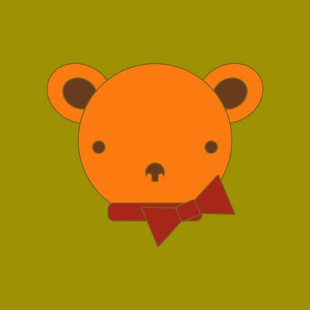 flat icon on background Kids toy bear Illustration
