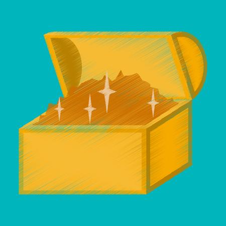 flat shading style icon Treasure chest Illustration
