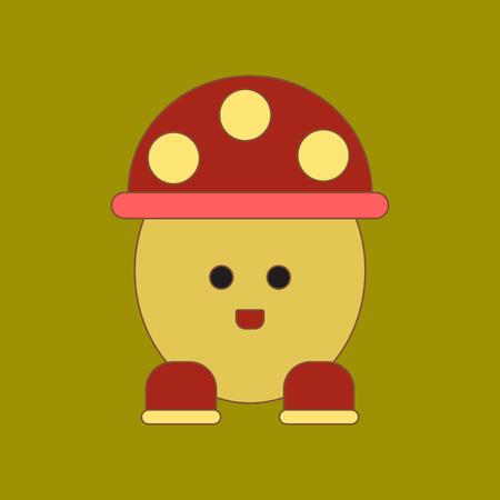 flat icon on background Kids toy mushroom
