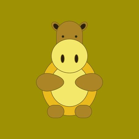 flat icon on background Kids toy hippo Illustration