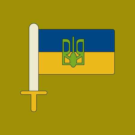 flat icon on background Ukrainian flag