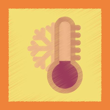 vlakke arcering stijl pictogram thermometer koud weer Stock Illustratie