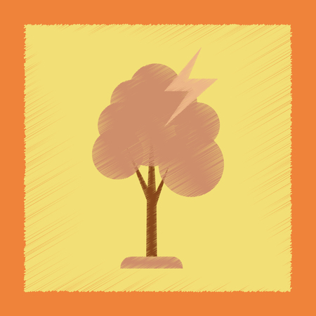 windy energy: flat shading style icon lightning tree Illustration