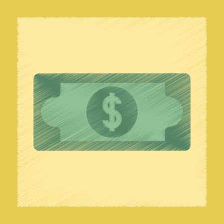 flat shading style icon dollar money Illustration