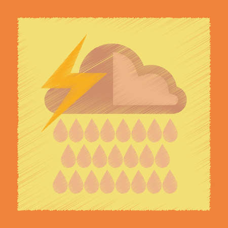 flat shading style icon thunderstorm rain cloud